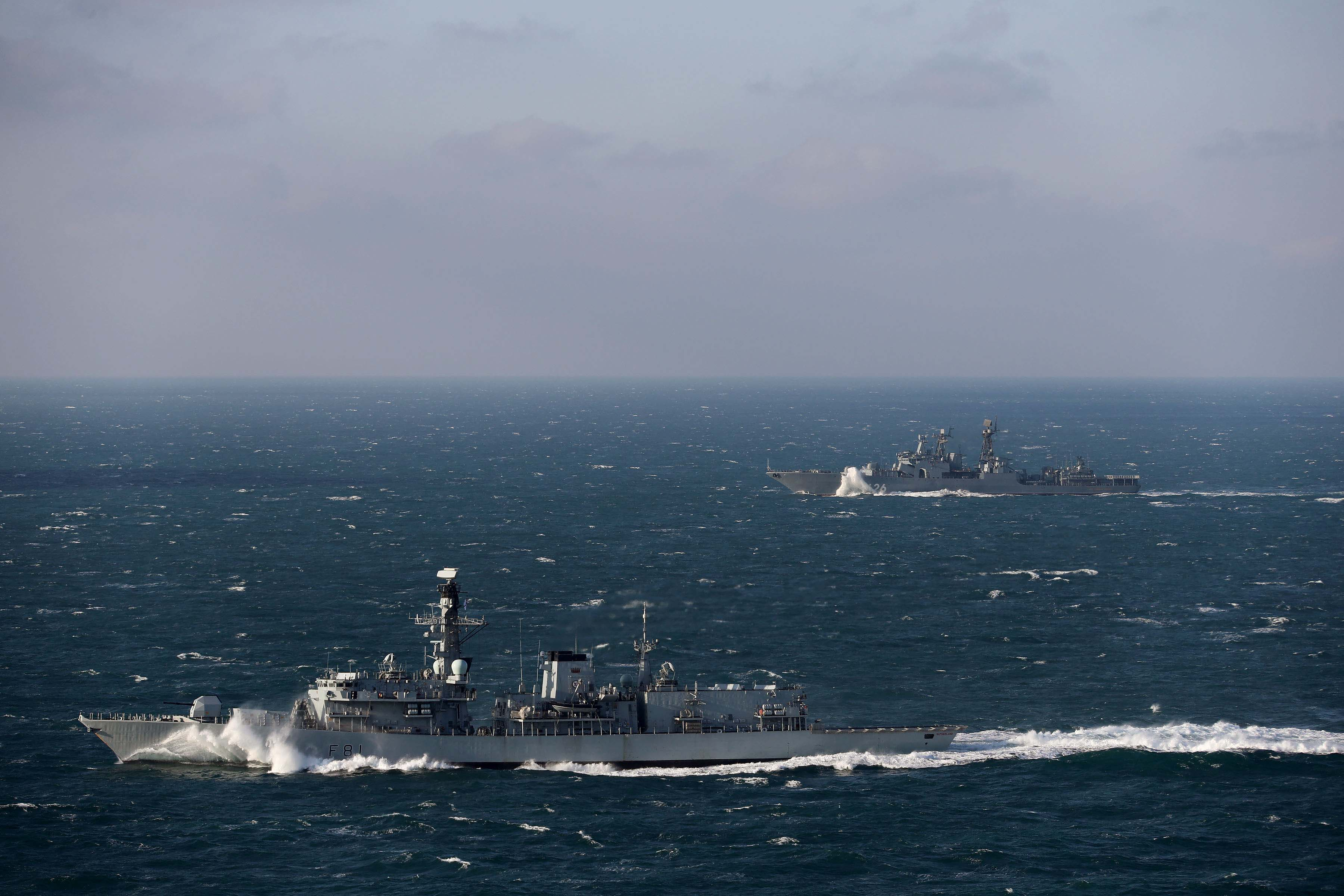 The Royal Navy's HMS Sutherland, a Devonport-based Type 23 frigate, is currently monitoring the Russian ship the Vice Admiral Kulakov, an Udaloy class destroyer, as she transits through UK territorial waters and those of other NATO member states.