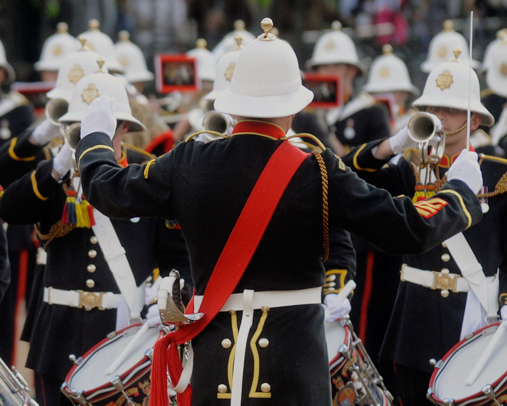 Mass bands of the Royal Marine Band Service Beating Retreat