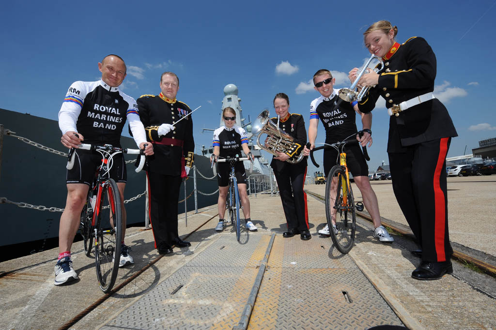 Royal Marines musicians get on their bike for charity