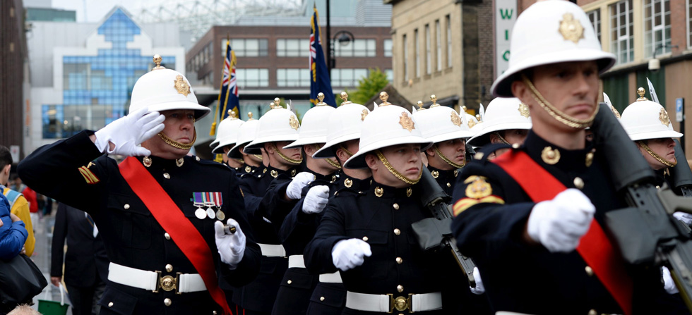 Royal Marines parade in Newcastle for the first time