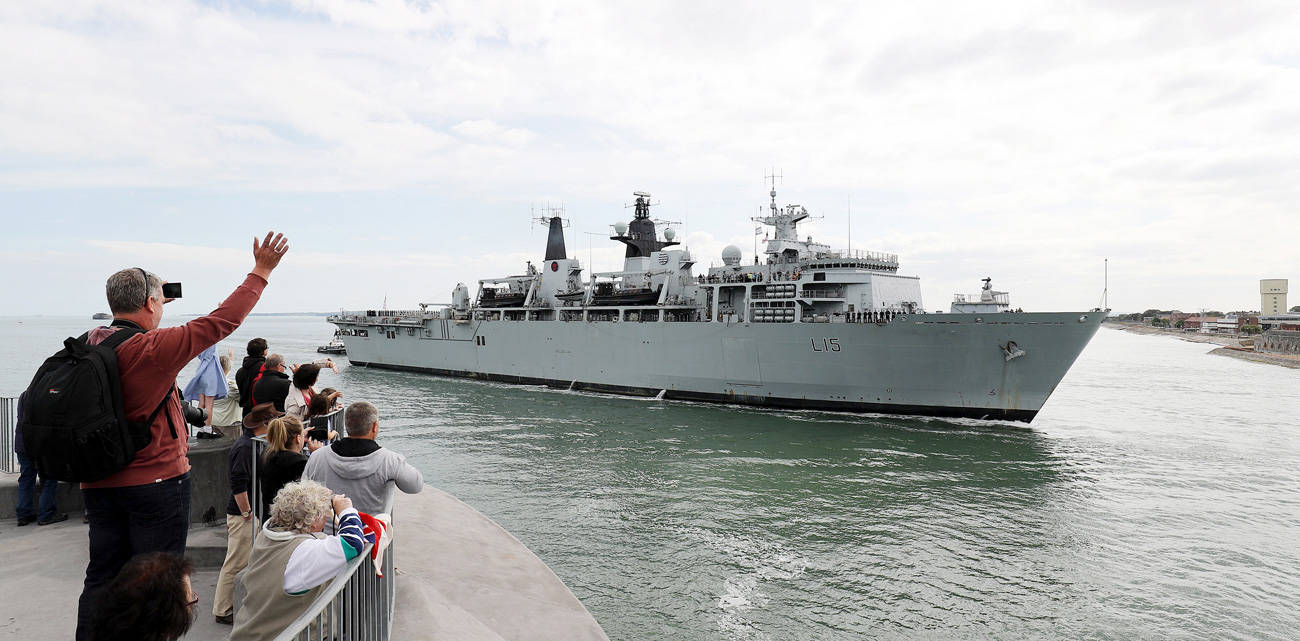HMS Bulwark stands to for Jutland 100