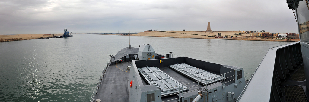 HMS Daring continues her passage along the Suez Canal.