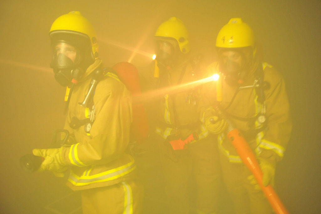 A firefighting exercise on board HMS Protector