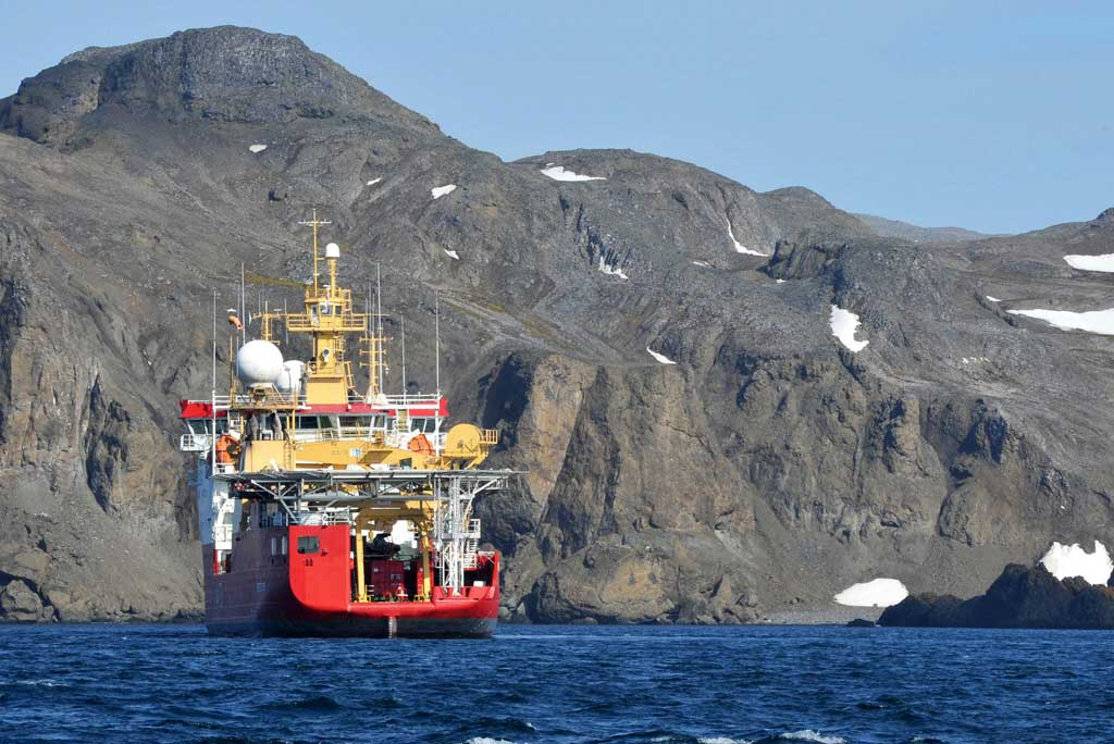 HMS Protector in Maxwell Bay
