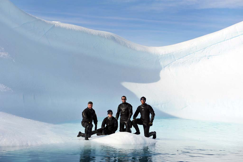 HMS Protectors Diving team in Antarctica