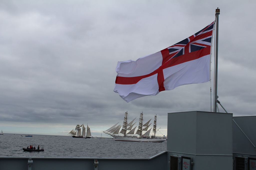 Royal Navy ship leads Tall Ships Regatta in Falmouth